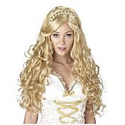 europen과 미국 숙녀를위한 머리 코스프레 합성 가발 패션 캡 긴 웨이브 금발의 색