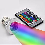 창조적 인 3w 장식 조명 E27 RGB 원격 제어 디 밍이 가능한 알루미늄 크리스마스 밤 빛 홈 장식