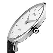 SINOBI Hombre Reloj de Moda Cuarzo Resistente al Agua Resistente a los Golpes Cuero Auténtico Banda Cosecha De Lujo Minimalista Negro