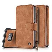 용 지갑 / 카드 홀더 / 충격방지 / 플립 케이스 풀 바디 케이스 단색 하드 인조 가죽 Samsung S7 edge / S7 / S6 edge / S6