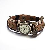 여성용 패션 시계 손목 시계 팔찌 시계 석영 방수 가죽 밴드 빈티지 보헤미안 뱅글 브라운