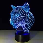 nueva lámpara creativos 3d ilusión leopardo cabeza 3d llevó el interruptor táctil lámpara de escritorio colorido ambiente de acrílico