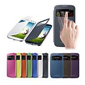 Para Funda Samsung Galaxy con Ventana / Activado/Apagado Automático / Flip Funda Cuerpo Entero Funda Un Color Cuero Sintético Samsung S4