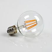 8W E26/E27 LED 글로브 전구 G80 8 COB 800 lm 따뜻한 화이트 밝기 조절 AC 220-240 AC 110-130 V 1개