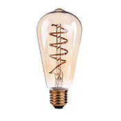 4W B22 E26/E27 LED필라멘트 전구 ST64 1 COB 400 lm 따뜻한 화이트 밝기 조절 AC 220-240 AC 110-130 V 1개