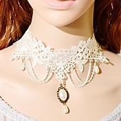 Mujer Gargantillas Forma Cuadrada Tela de Encaje Perla Artificial Moda Blanco Joyas Para Boda Fiesta Ocasión especial Cumpleaños Pedida1