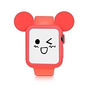 실리콘 시계 밴드 / 시계 시리즈 애플 시계 시리즈 1 / 2 38mm / 42mm 귀여운 만화 스타일 노란색 / 파랑 / 검정 / 핑크 / 화이트