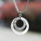 여성용 팬던트 목걸이 Circle Shape 은 도금 모조 다이아몬드 합금 베이직 디자인 패션 보석류 용 결혼식 파티 일상 캐쥬얼 1PC
