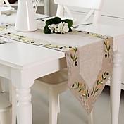 Rectangular Bordado Corredor de Tabla , Lino MaterialHotel Dining Tabla Decoración del banquete de boda Cena banquete de la boda