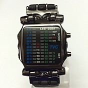 남성용 Teen 스포츠 시계 에코 드라이브 LED 고무 밴드 캐쥬얼 블랙