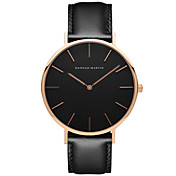 Hombre Reloj de Vestir Reloj de Moda Cuarzo Cuero Auténtico Banda Casual Negro Marrón