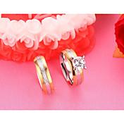 커플용 커플 링 모조 큐빅 패션 미니멀 스타일 우아한 틴타늄 스틸 지르콘 Round Shape 보석류 제품 결혼식 약혼