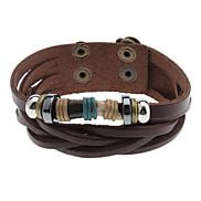 Schwarz Elfenbein-Leder-Armband