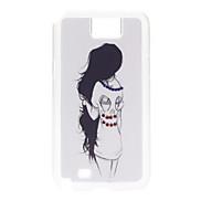 Schwarzes Haar Mädchen Pattern Hard Case mit Strass für Samsung Galaxy Note N7100 2