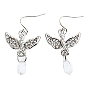 Vollständige Diamant-Silber Angel Wings Ohrringe