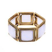 lureme®vintage Legierungsharz quadratischen Muster Armband