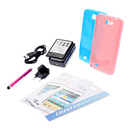 2 TPU Soft Case,2 Screen Protector, Stylus Pen and USB Charger Set for Samsung Galaxy Note 2 N7100