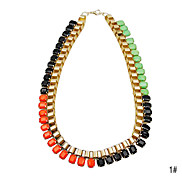Colorful Acrylic Square Shaped Alloy Necklace(Assorted Color)