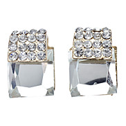 Square Full Diamond Cutting Angle Glass Earring