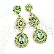 Women's   Waterdrop Gold Plated Alloy Green Zircon Earrings