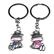1 Pair Cute Cattle Style Metal Lovers Keychain