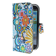 Exquisite Flowers and Circles Pattern PU Leather Case with Stand and Card Slot for Samsung Galaxy S3 I9300