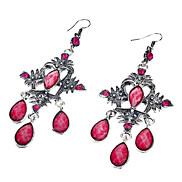 Retro Alloy Diamond Flower Resin Earrings