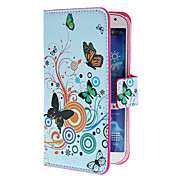 For Samsung Galaxy Case Card Holder / with Stand / Flip / Pattern Case Full Body Case Butterfly PU Leather Samsung S4