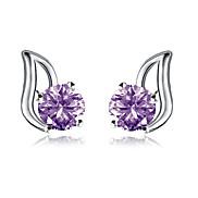 Elegant S925 Sterling Silver Purple Zircon Studs Earrings