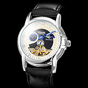 Men's Silver Case PU Mechanical Analog Wrist Watch (Assorted Colors)