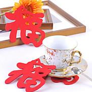 "Chinese ""福"" Word Pattern Felt Coaster Cup Mat"
