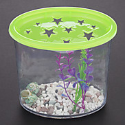 Mini Plastic Fish Tank with Plant Cobblestone Conch (Assorted Colors)