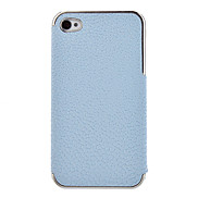 3D Leather Hard Cover Case Chrome frame Case for iPhone 4/4S