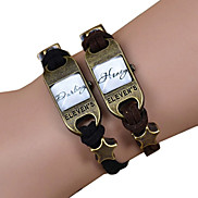 Galaxy Retro Handmade DIY Lover Time Multicolor Alloy Glass Leather Warp Bracelet(1 Pc)(Black,Brown)(As Picture 12)