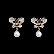 Exquisite Butterfly Shape Full Crystal-Setting Pearl Earrings  (1 Pair)
