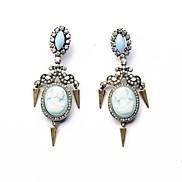 Retro Light Blue Queen Embossed Alloy Drop Earrings (1 Pair)