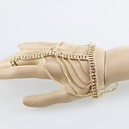 Fashion Gold Bracelet Set Including Stretch Band Ring Made Of Metal Chain And Rhinestones(Gold,Silver)(1Pc)