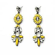 European Style Yellow Flower Alloy Drop Earrings (1 Pair)