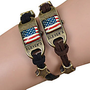 Galaxy Retro Handmade DIY Lover Time Multicolor Alloy Glass Leather Warp Bracelet(1 Pc)(Black,Brown)(As Picture 13)