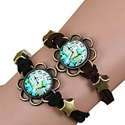 Galaxy Retro Handmade DIY Lover Time Multicolor Alloy Glass Leather Warp Bracelet(1 Pc)(Black,Brown)(As Picture 7)