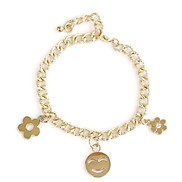 Classic Chain With  Flower Smiley Pendant Women'S Metal Bracelet(1 Pc)