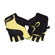 KORAMAN Unisex Yellow Protection Pad Shockproof Short Finger Cycling Gloves