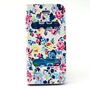 Flowers Pattern PU Leather Full Body Case with Stand for iPhone 5/5S