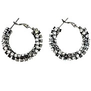 Fashion (Round) Silver Alloy Hoop Earrings(Silver)(1Pair)