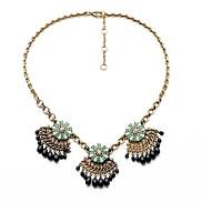 Ethnic Style Flower Beads Tassel Necklaces (Orange,Dark Blue) (1 Pc)