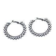 Fashion (Round) Gun Black Alloy Hoop Earrings(Gun Black)(1Pair)