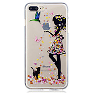 For Apple iPhone 7 7 Plus 6S 6 Plus SE 5S 5 Beauty And Cat Pattern Painted High Penetration TPU Material IMD Process Soft Case Phone Case