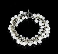 las damas elegantes de la perla pulsera de cadena de aleación de plata