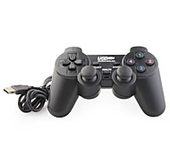 USB 2.0 Wired Double-Shock 2 Gaming Controller for PC (Black)