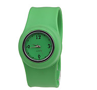 Children's Waterproof Quartz Tape Bracelet Watch with Green Band